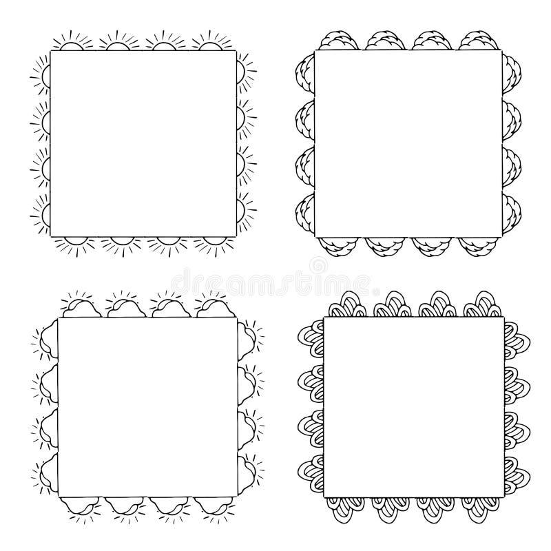 Quatre cadres noirs et blancs carrés avec les soleils, des nuages et des éléments décoratifs illustration de vecteur