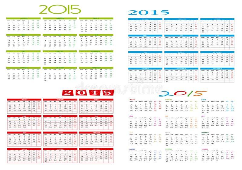 Quatre calendriers différents 2015 photos libres de droits