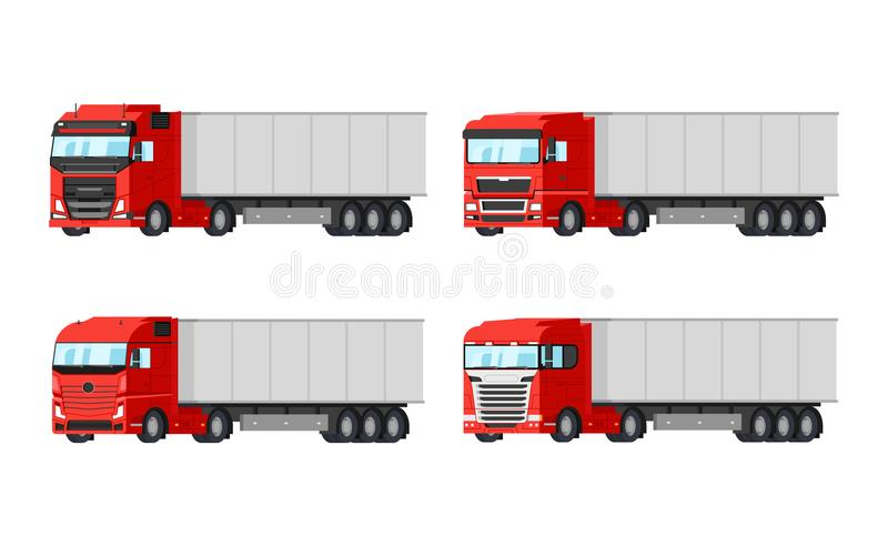 Quatre camions rouges différents pour des marchandises de la livraison dirigent la conception plate d'isolement sur le fond blanc illustration libre de droits