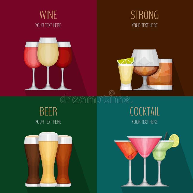 Quatre cartes avec différentes boissons d'alcool Vin, boissons fortes illustration libre de droits