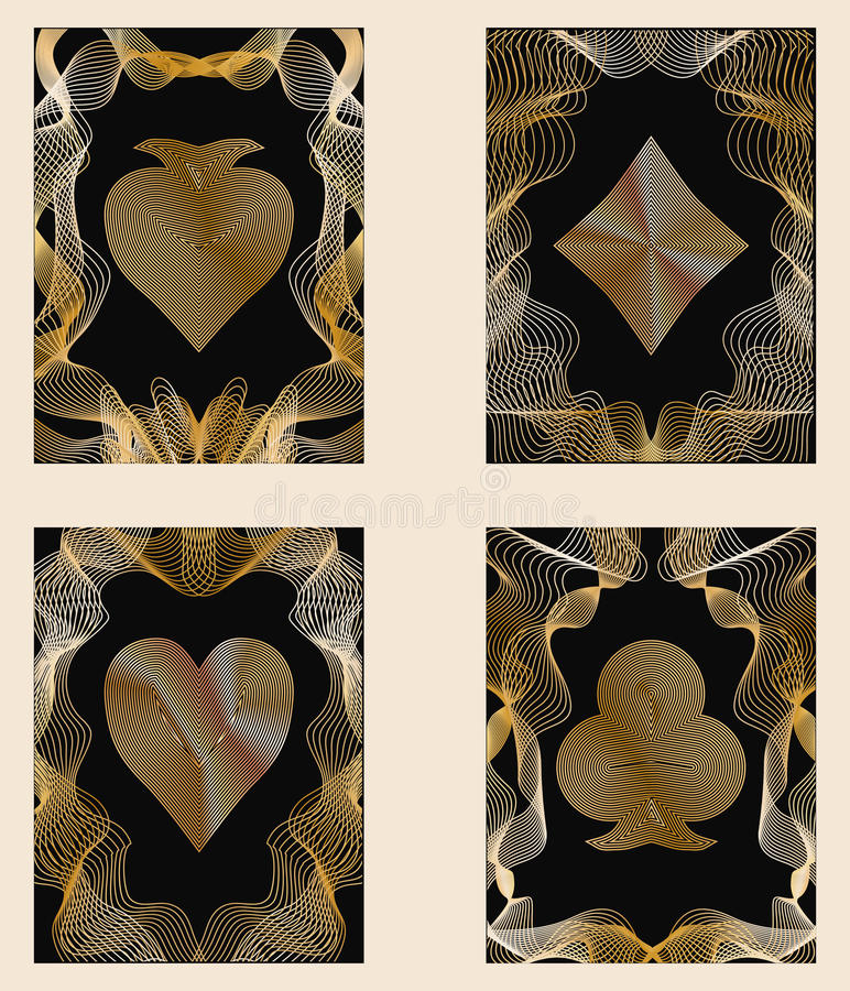 Quatre cartes d'or de tisonnier illustration stock