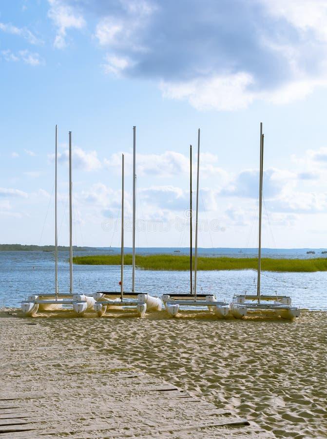 Quatre catamarans sur le rivage de lac photo libre de droits