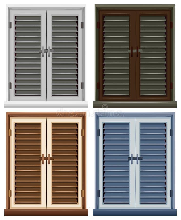 Quatre châssis de fenêtre dans différentes couleurs illustration de vecteur