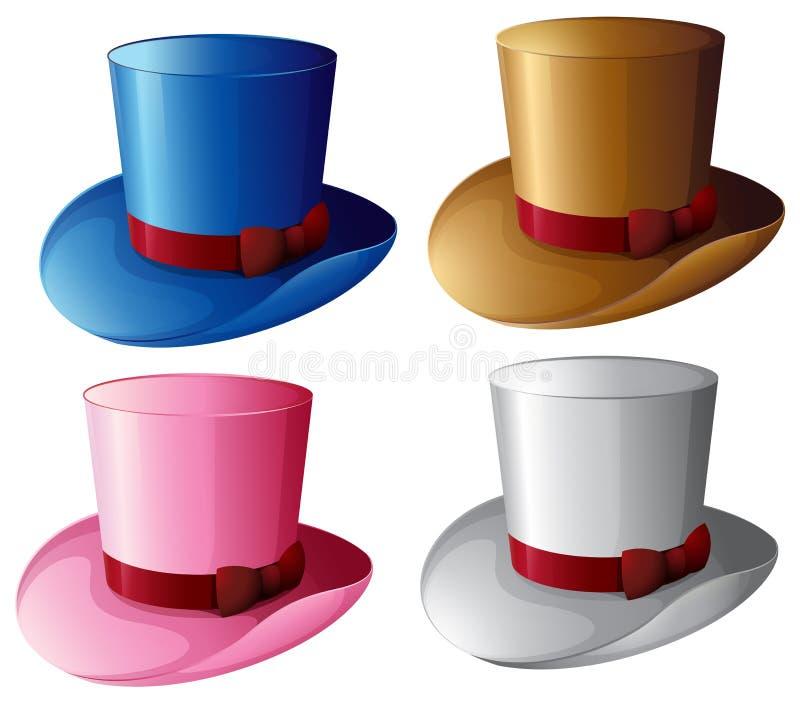Quatre chapeaux avec les rubans rouges illustration stock