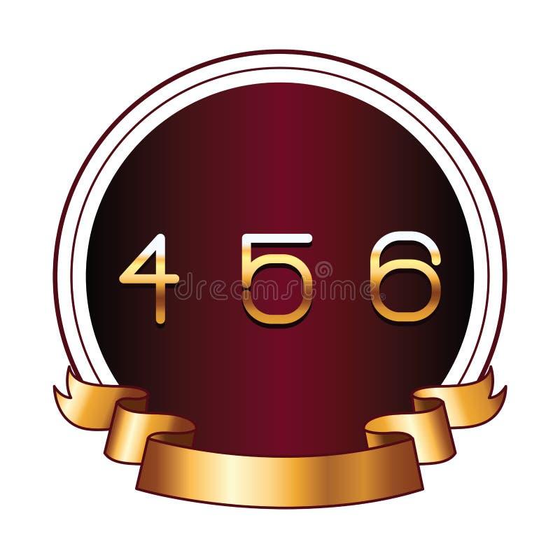 Quatre cinq et six nombres sur le label rond illustration de vecteur