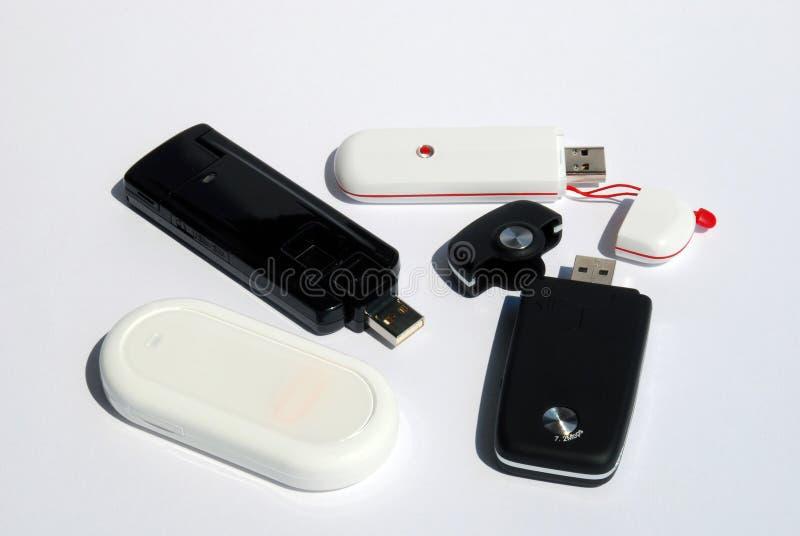 Quatre clé d'Usb 3G de modem photographie stock libre de droits
