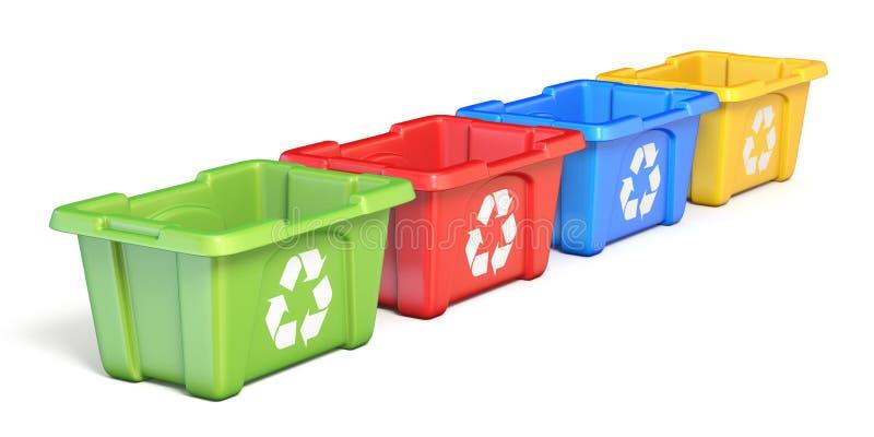 Quatre colorés réutilisent les poubelles 3D illustration stock