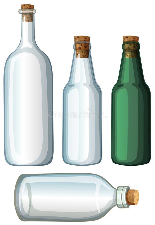 Quatre conceptions des bouteilles en verre illustration stock