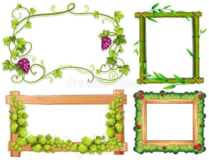 Quatre conceptions différentes des cadres avec les feuilles vertes illustration libre de droits
