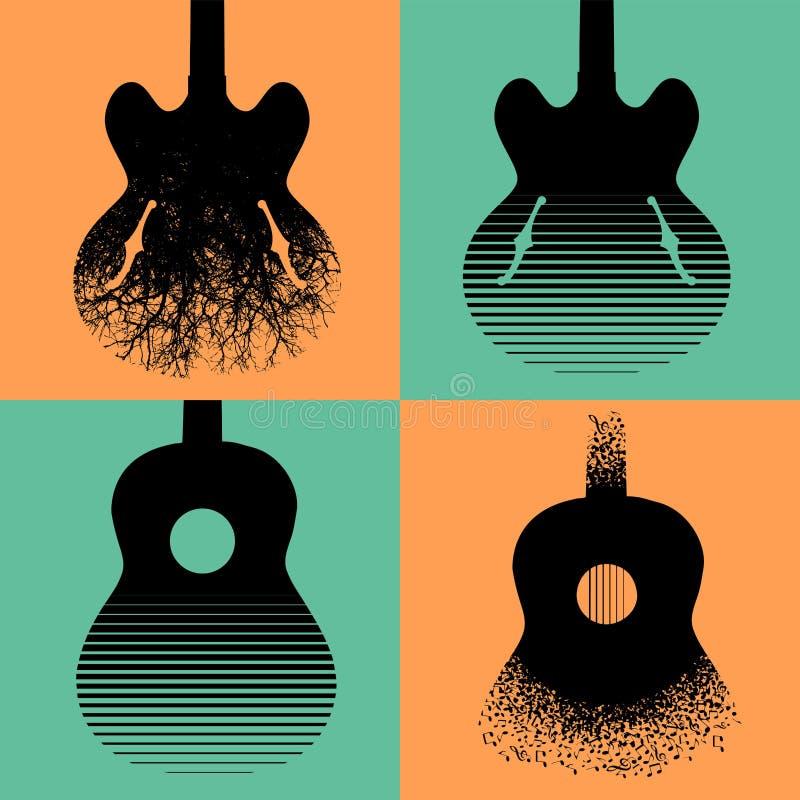Quatre conceptions intéressantes de guitare illustration stock