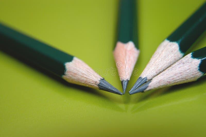 Quatre crayons images stock
