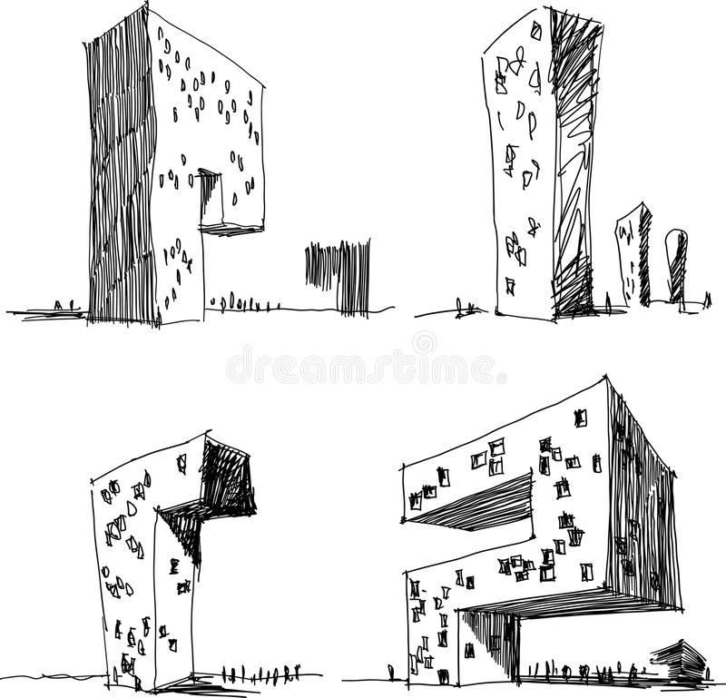 Quatre croquis architecturaux d'une architecture abstraite moderne illustration de vecteur