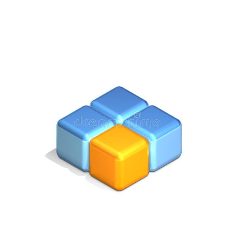 Quatre cubes illustration stock