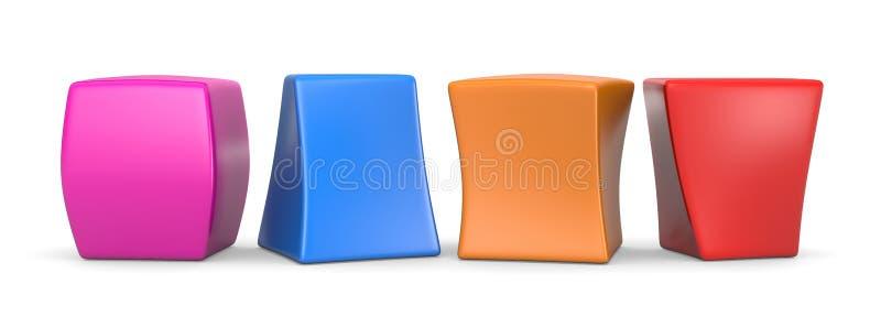Quatre cubes drôles vides colorés illustration libre de droits