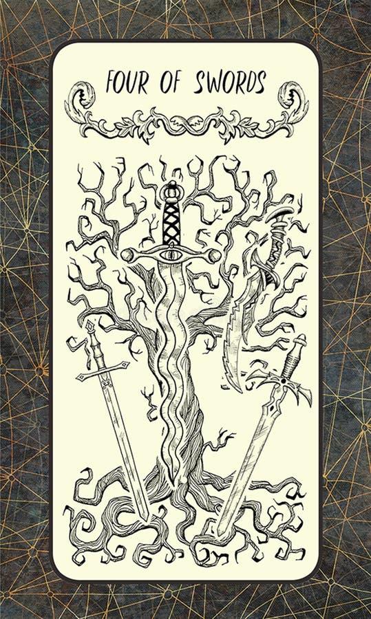 Quatre d'épées La carte de tarot magique de porte illustration stock