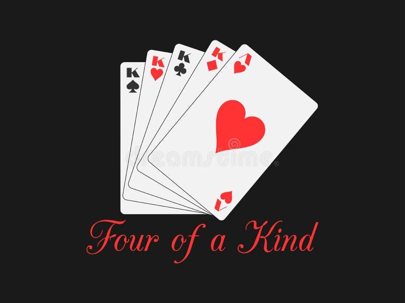 Quatre d'une sorte jouant des cartes Main de poker illustration stock