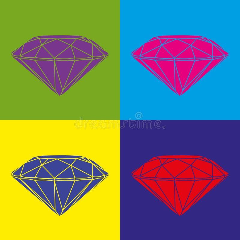 Quatre diamants colorés sur le fond de couleur Image d'art de bruit illustration libre de droits