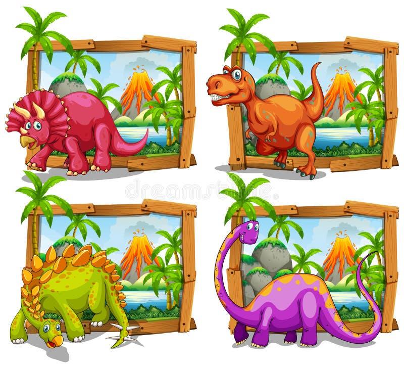 Quatre dinosaures dans le cadre en bois illustration libre de droits