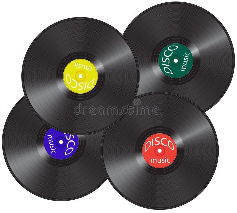 Quatre disques de vinil photo stock