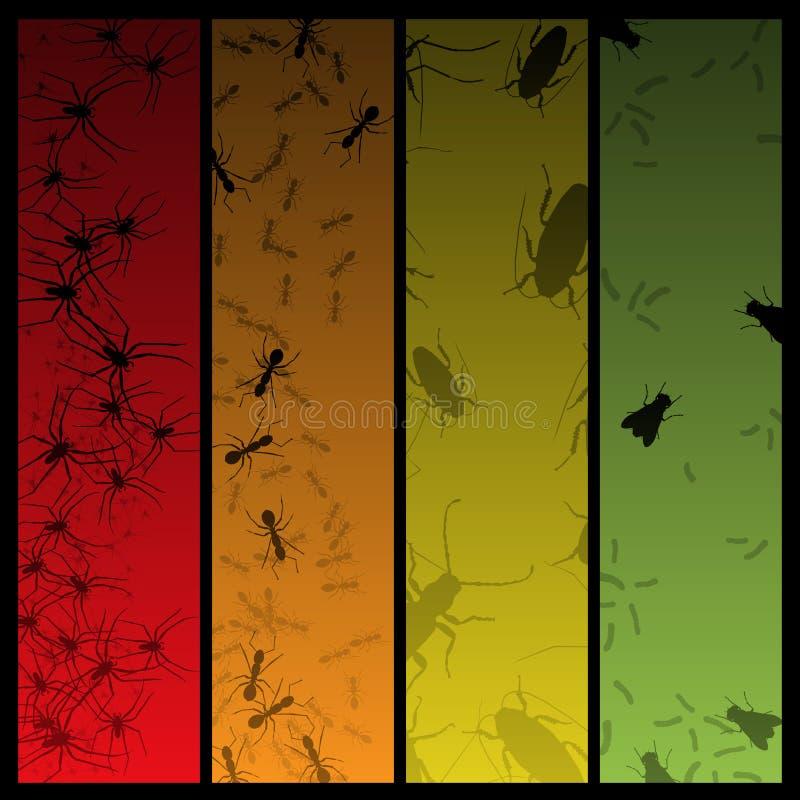 Quatre drapeaux d'insecte et d'araignée illustration stock