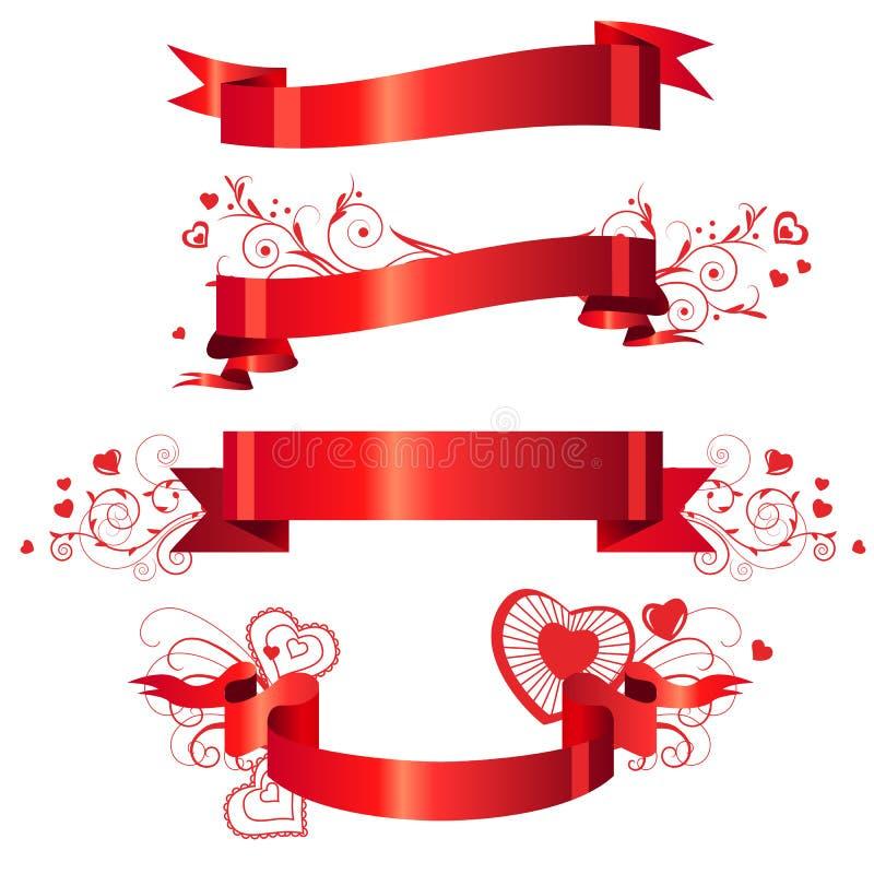 Quatre drapeaux rouges floraux illustration stock