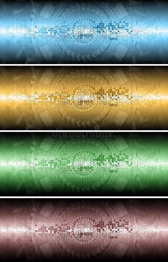 Quatre drapeaux techniques illustration stock