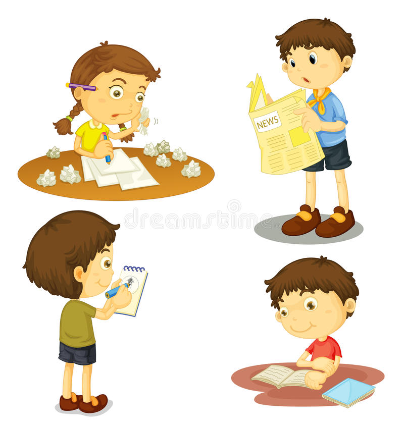 Quatre enfants illustration stock