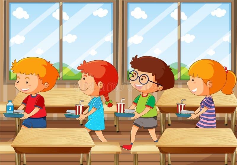 Quatre enfants avec le plateau de nourriture dans la cantine illustration de vecteur