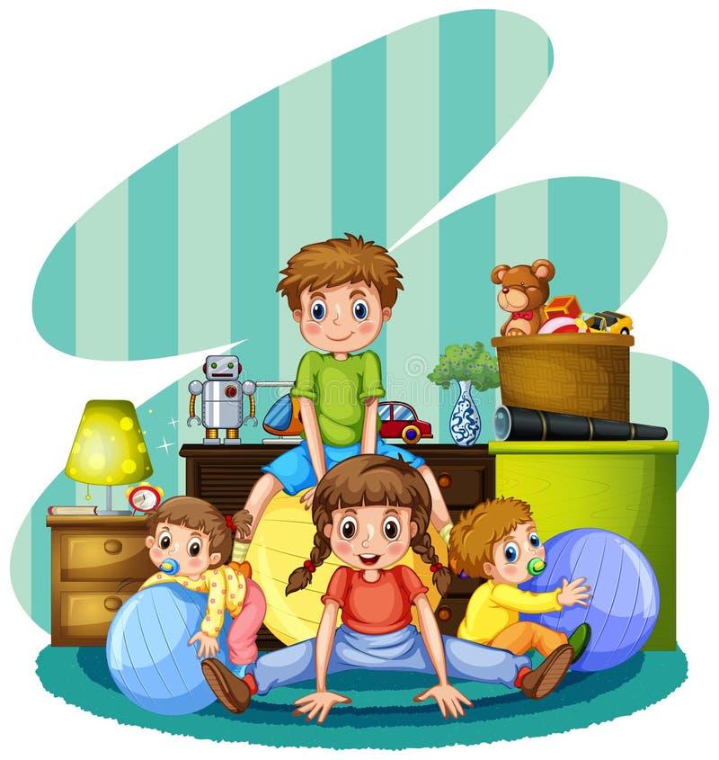 Quatre enfants jouant dans la chambre illustration de vecteur