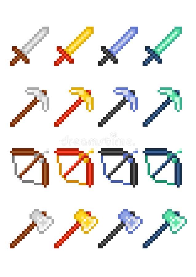 Quatre ensembles d'icône de pixel avec des articles pour le jeu : pioche, épée, arc et hache faits de métaux précieux et minerais image libre de droits