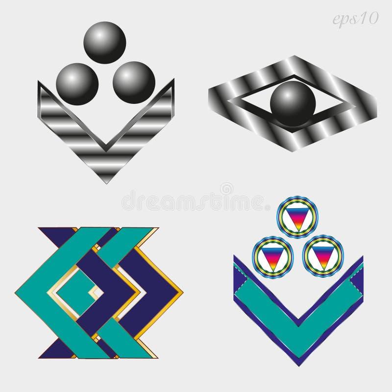 Quatre ensembles différents de logo illustration stock