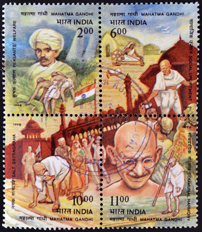 Quatre estampilles consacrées à Mahatma Gandhi image stock