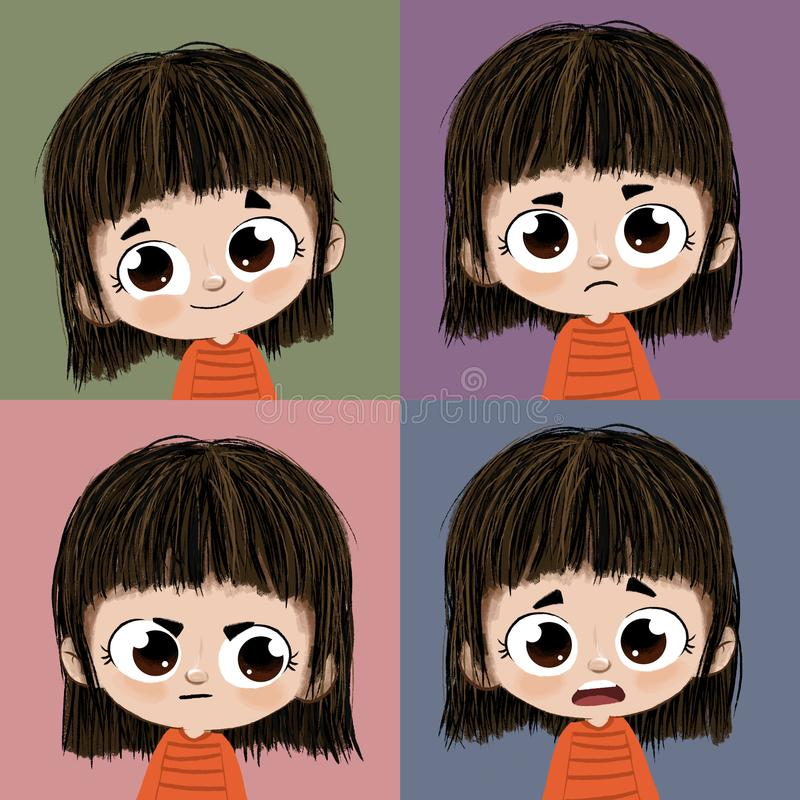 Quatre expressions illustration stock