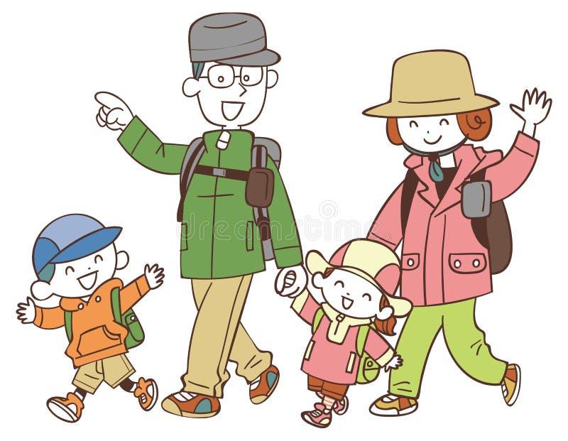 Quatre familles qui trimardent illustration stock