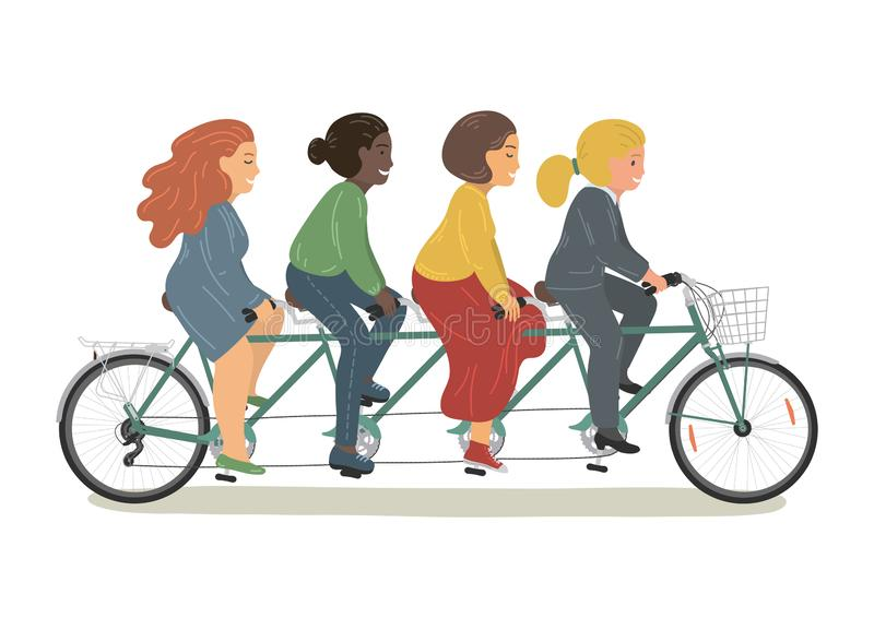 Quatre femmes montant la bicyclette tandem ensemble illustration stock
