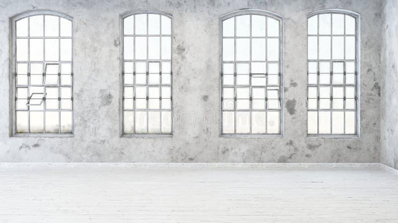 Quatre fenêtres avec de petits cadres rectangulaires illustration stock
