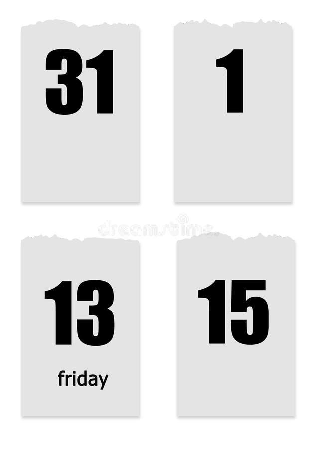 Quatre feuilles de arrachent le calendrier avec des dates 1,15, 30 et vendredi 13 photo libre de droits