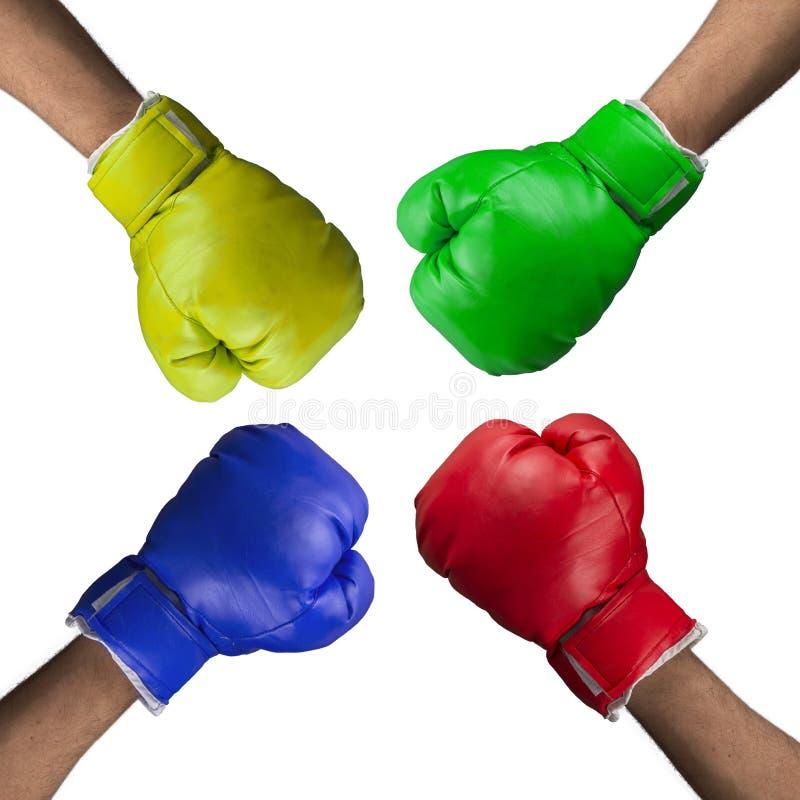 Quatre gants de boxe images stock