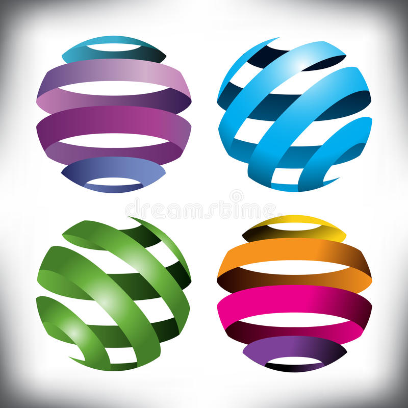 Quatre globes abstraits illustration libre de droits