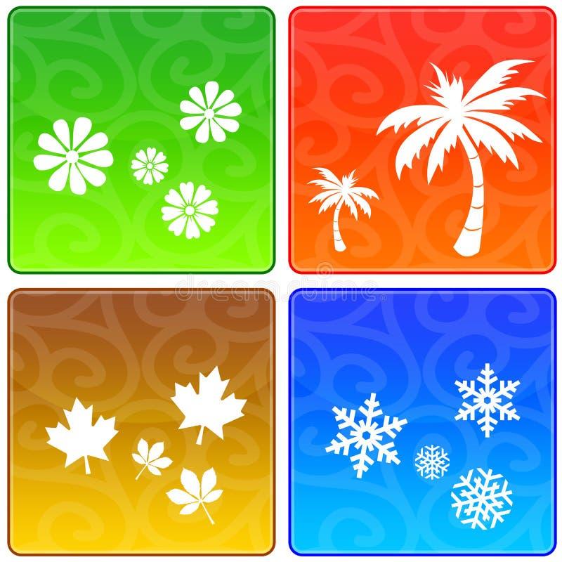 Quatre graphismes de saisons illustration libre de droits