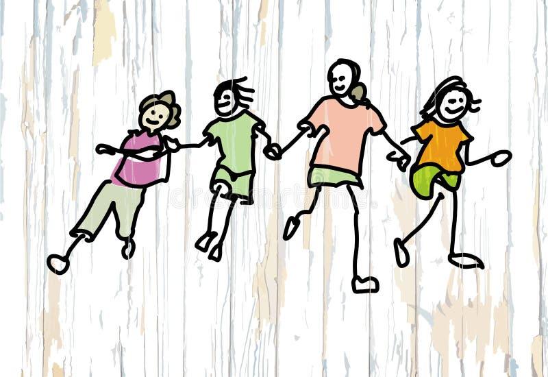 Quatre griffonnages d'enfants sur le fond en bois illustration stock