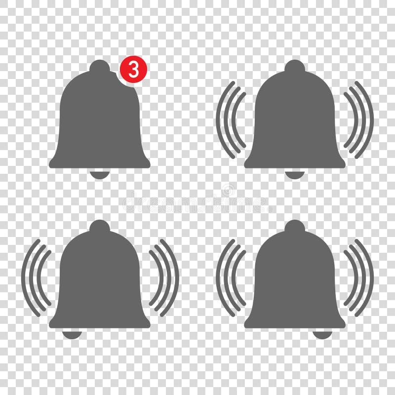 quatre icônes gentilles d'avis de sonnerie de cloches illustration de vecteur