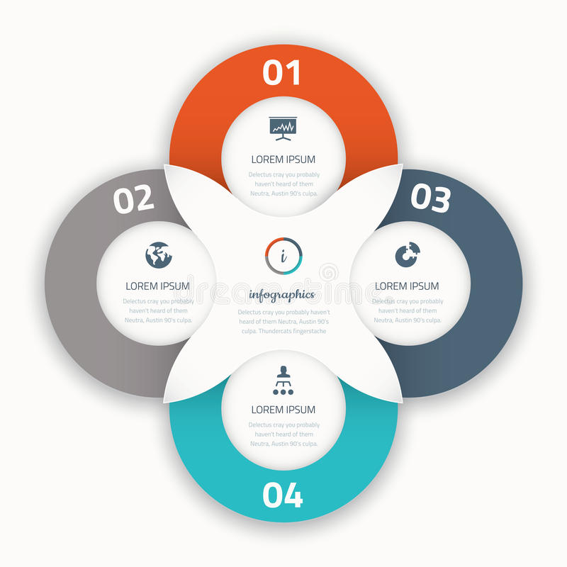 Quatre icônes infographic modernes de calibre d'affaires d'options illustration stock