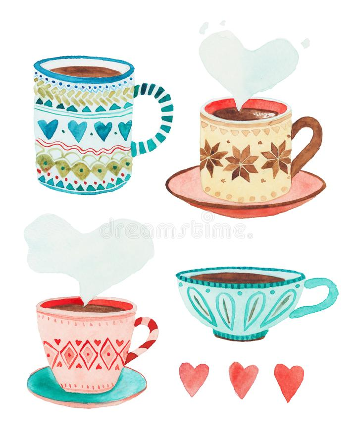 Quatre illustrations simples de tasses de Suédois photos libres de droits