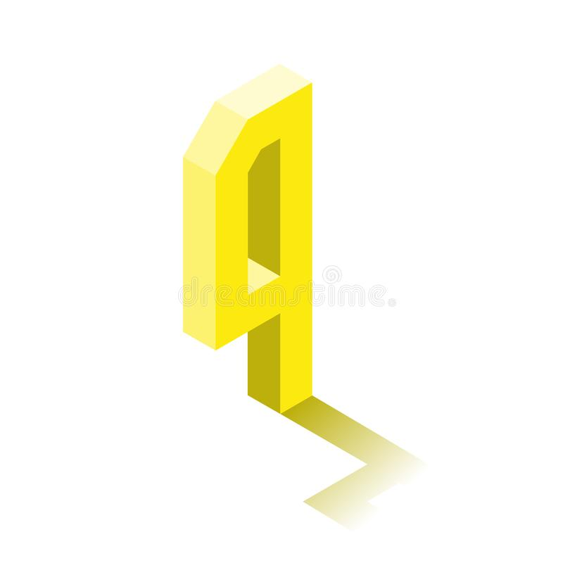 Quatre isométriques icône jaune, caractère 3d avec l'ombre illustration libre de droits