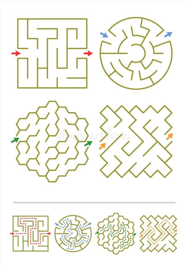 Quatre jeux de labyrinthe avec des réponses illustration libre de droits