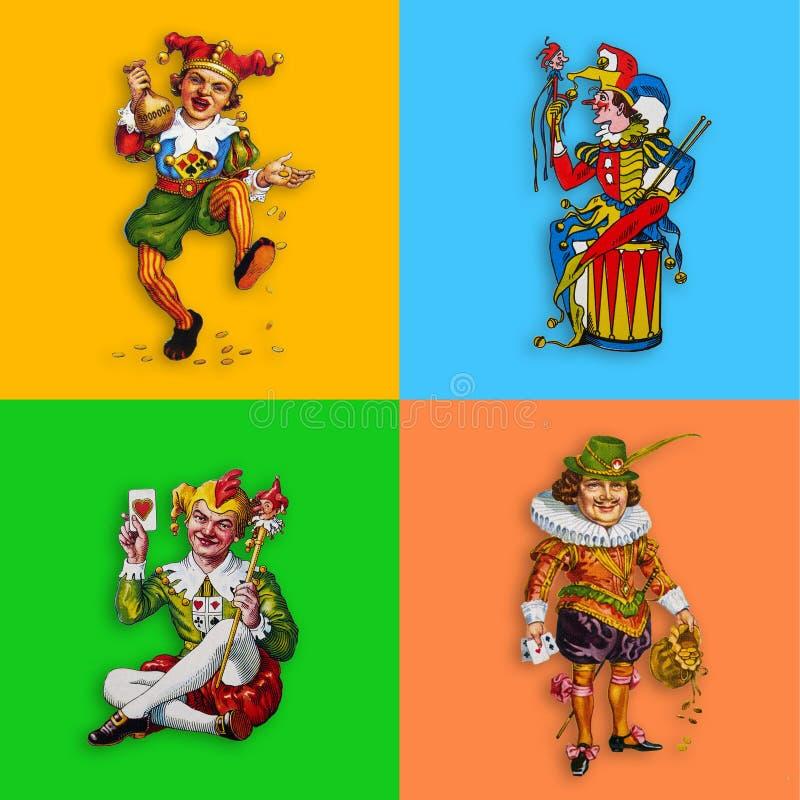 Quatre jokers de carte dans les places colorées illustration de vecteur