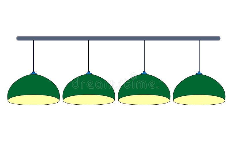 Quatre lampes vertes de billard se ferment avec la lumière jaune Vert de rangée accrochant le billard de 4 lampes pour l'allumage illustration de vecteur