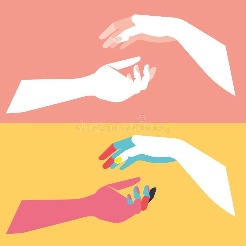 Quatre mains, style d'art de bruit, couleurs de contraste, illustration plate illustration de vecteur