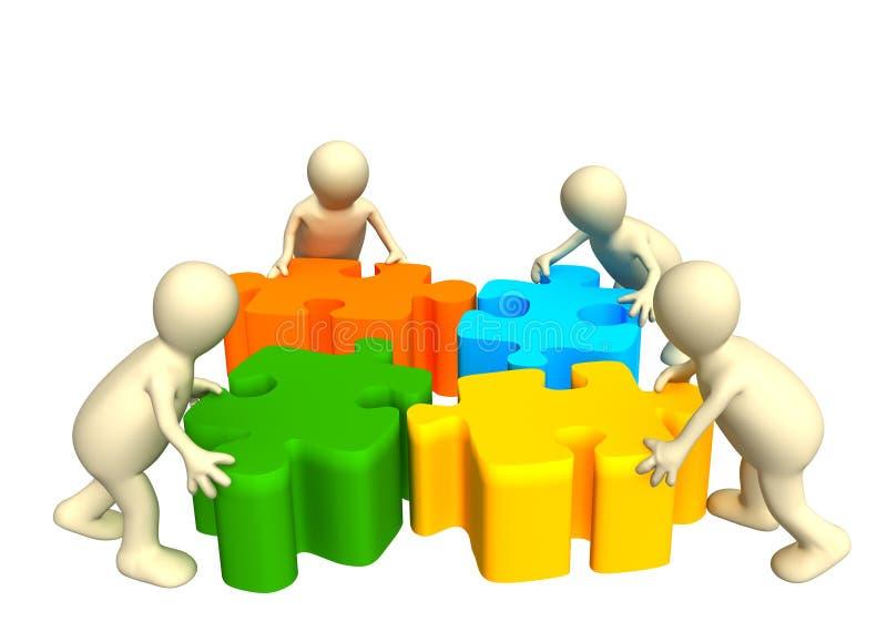 Quatre marionnettes, retenant dans des mains un puzzle illustration stock